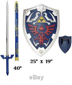 Carbon Steel Legend of Zelda Links Master sword and shield set cosplay full size