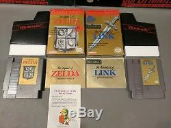 LOT Legend of Zelda 1 2 Adventures of Link Nintendo NES Complete in Box CIB Grey