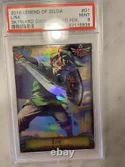 Legend Of Zelda Trading Card Gold Foil Link Skyward Sword #g1 2016 Psa 9 Mint