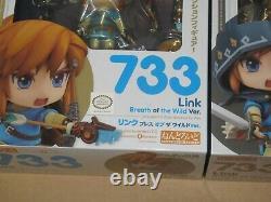 Legend of Zelda Breath of the Wild Nendoroid Link 733 + 733-DX Set Official New