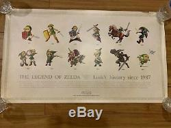 Legend of Zelda Link's History Club Nintendo Poster Ultra Rare 1987 Limited NES