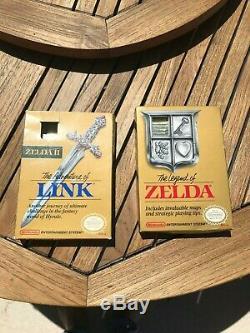 NES The Legend of Zelda 1 & 2 with Instructions and Zelda & Link box