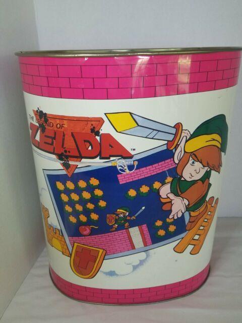 Rare! 1988 Vintage Nintendo Auth Legend Of Zelda Metal Trash Can Excellent Cond