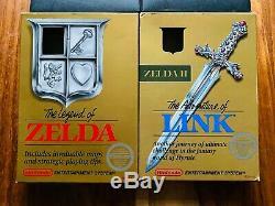 The Legend of Zelda NES + Links Adventure Nintendo CIB 1st PRINT EDITION GOLD 4